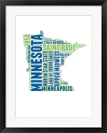 Framed Minnesota Word Cloud Map Print