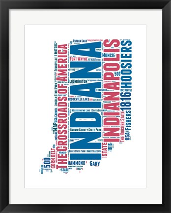 Framed Indiana Word Cloud Map Print