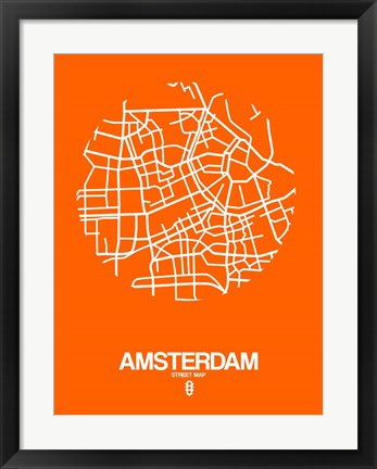 Framed Amsterdam Street Map Orange Print