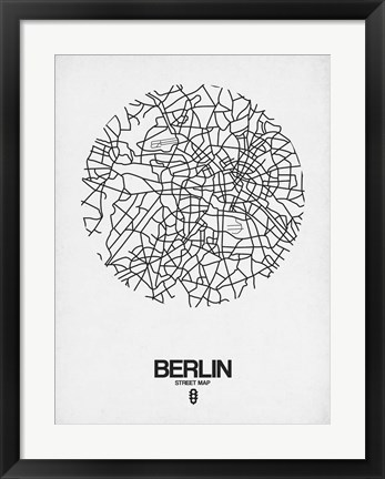 Framed Berlin Street Map White Print