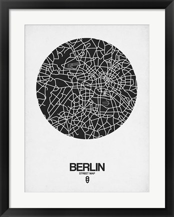 Framed Berlin Street Map Black on White Print