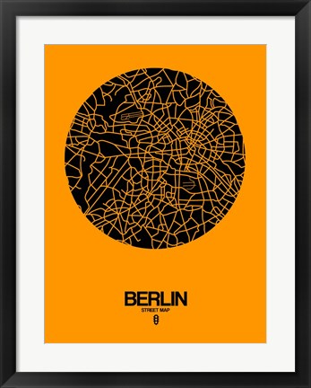 Framed Berlin Street Map Yellow Print