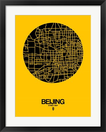 Framed Beijing Street Map Yellow Print