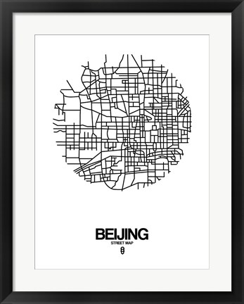 Framed Beijing Street Map White Print