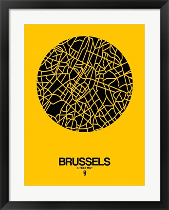 Framed Brussels Street Map Yellow Print