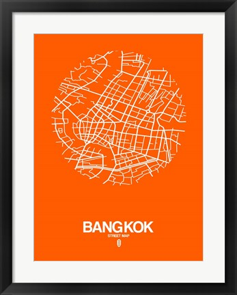Framed Bangkok Street Map Orange Print
