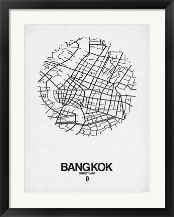 Framed Bangkok Street Map White Print