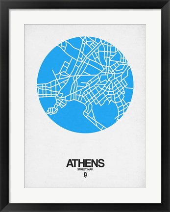 Framed Athens Street Map Blue Print