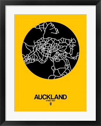 Framed Auckland Street Map Yellow Print