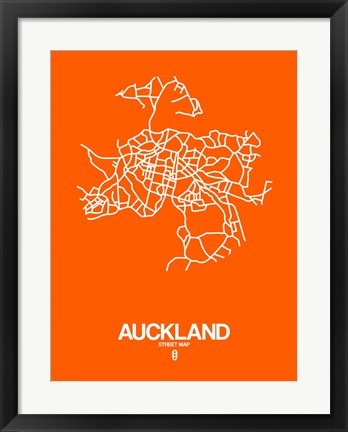 Framed Auckland Street Map Orange Print