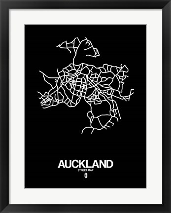 Framed Auckland Street Map Black Print