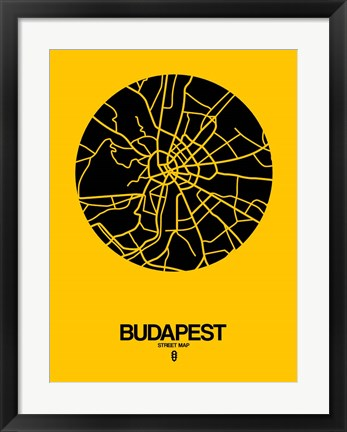 Framed Budapest Street Map Yellow Print