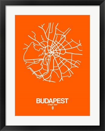 Framed Budapest Street Map Orange Print