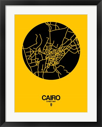 Framed Cairo Street Map Yellow Print