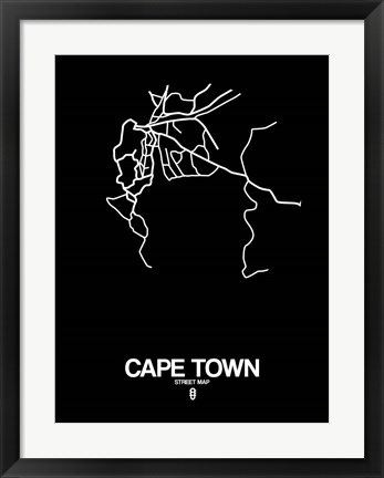 Framed Cape Town Street Map Black Print