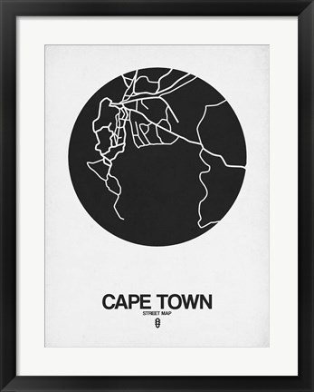 Framed Cape Town Street Map Black on White Print