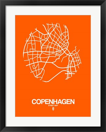 Framed Copenhagen Street Map Orange Print