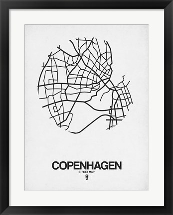 Framed Copenhagen Street Map White Print