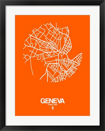Framed Geneva Street Map Orange Print