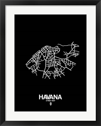 Framed Havana Street Map Black Print