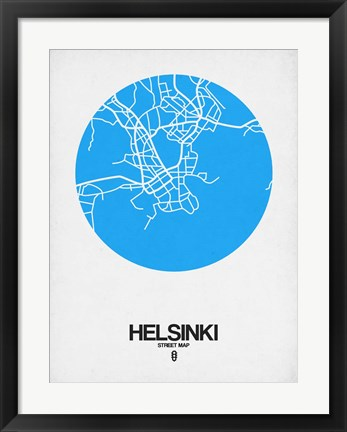 Framed Helsinki Street Map Blue Print