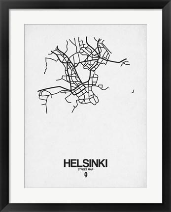 Framed Helsinki Street Map White Print