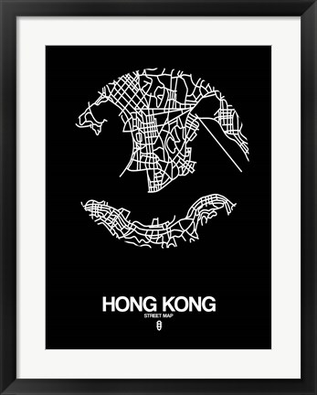 Framed Hong Kong Street Map Black Print