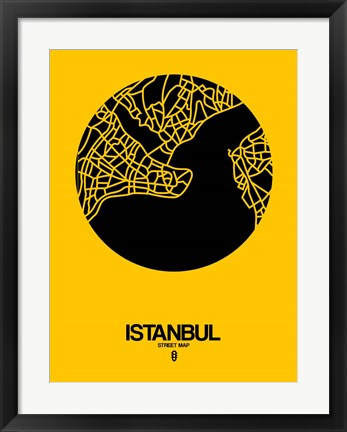 Framed Istanbul Street Map Yellow Print