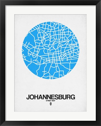 Framed Johannesburg Street Map Blue Print