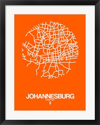 Framed Johannesburg Street Map Orange Print