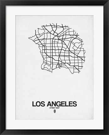 Framed Los Angeles Street Map White Print