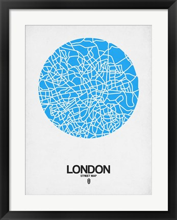 Framed London Street Map Blue Print