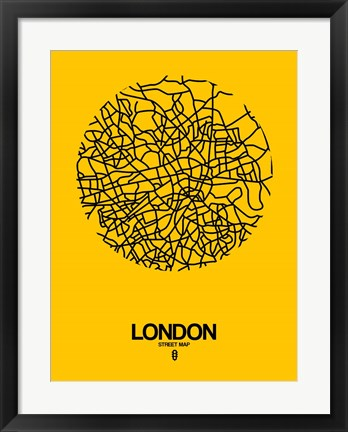 Framed London Street Map Yellow Print