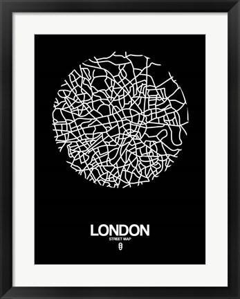Framed London Street Map Black Print