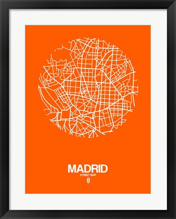 Framed Madrid Street Map Orange Print
