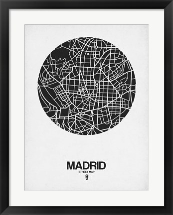 Framed Madrid Street Map Black on White Print