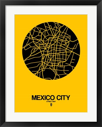 Framed Mexico City Street Map Yellow Print