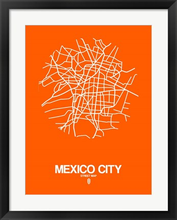 Framed Mexico City Street Map Orange Print