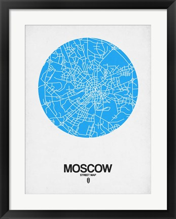Framed Moscow Street Map Blue Print