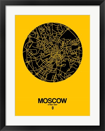 Framed Moscow Street Map Yellow Print