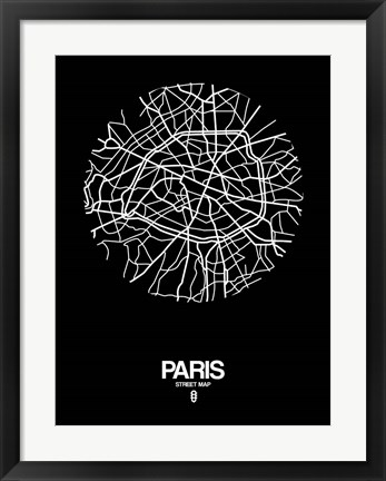 Framed Paris Street Map Black Print