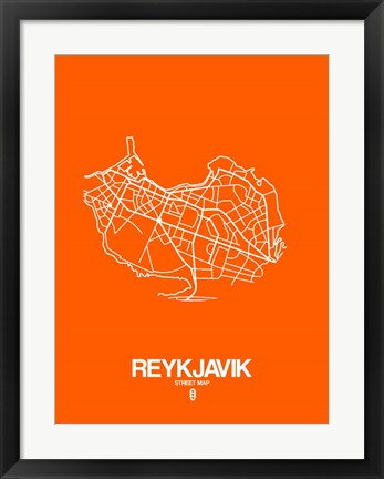 Framed Reykjavik Street Map Orange Print