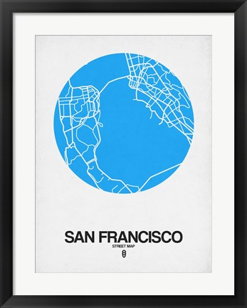 Framed San Francisco Street Map Blue Print