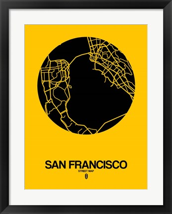 Framed San Francisco Street Map Yellow Print