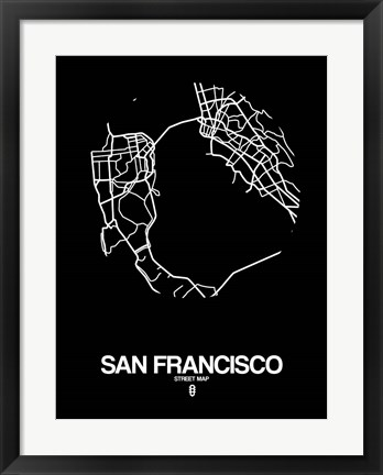 Framed San Francisco Street Map Black Print