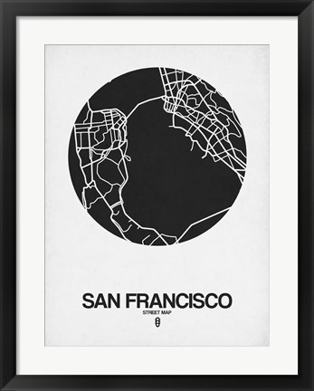 Framed San Francisco Street Map Black on White Print