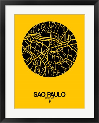 Framed Sao Paulo Street Map Yellow Print