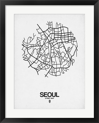 Framed Seoul Street Map White Print