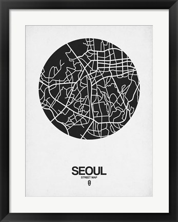 Framed Seoul Street Map Black on White Print