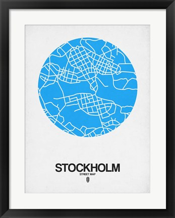 Framed Stockholm Street Map Blue Print